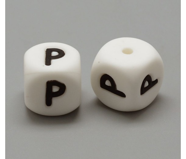 Letter P Silicone Bead, White, 12mm Cube