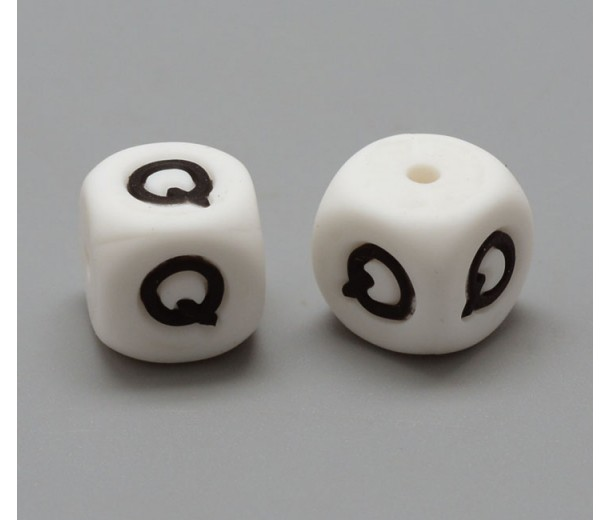Letter Q Silicone Bead, White, 12mm Cube