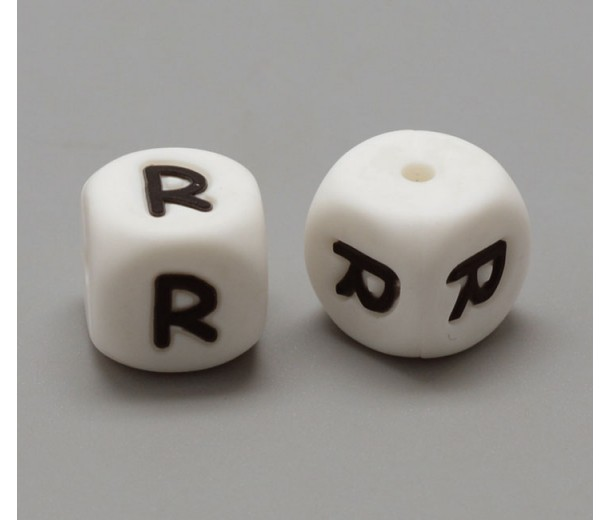 Letter R Silicone Bead, White, 12mm Cube