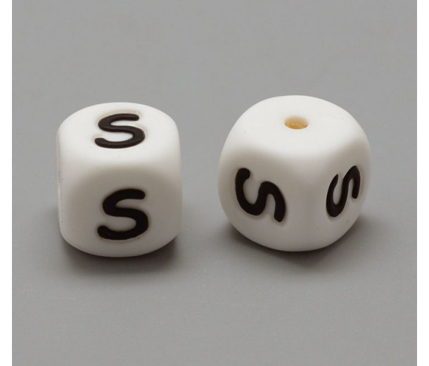 Letter S Silicone Bead, White, 12mm Cube