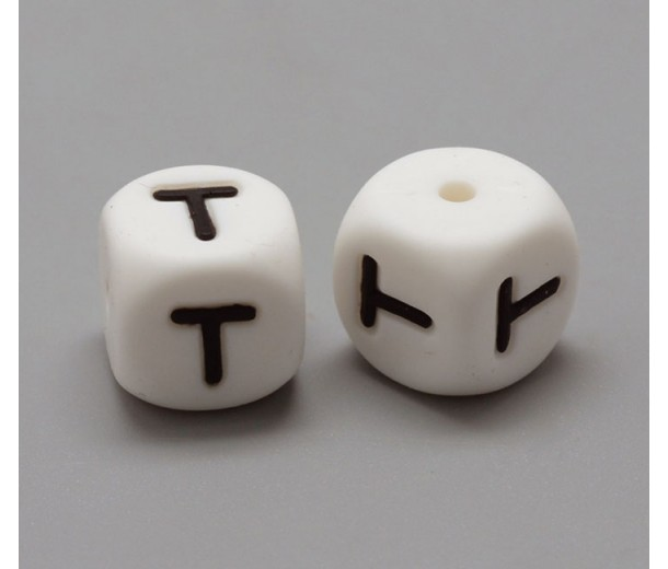 Letter T Silicone Bead, White, 12mm Cube