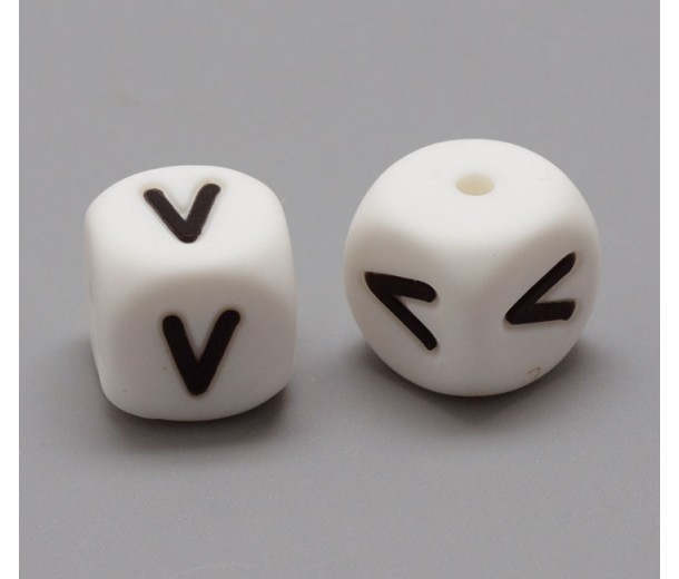 Letter V Silicone Bead, White, 12mm Cube
