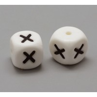 Letter X Silicone Bead, White, 12mm Cube