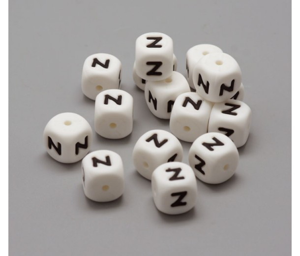 Letter Z Silicone Bead, White, 12mm Cube