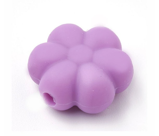 Light Orchid Silicone Bead, 14mm Daisy Flower