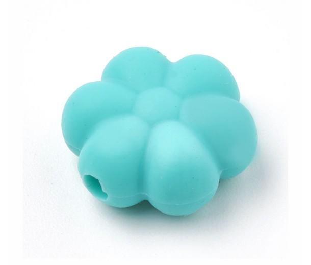 Medium Teal Silicone Bead, 14mm Daisy Flower