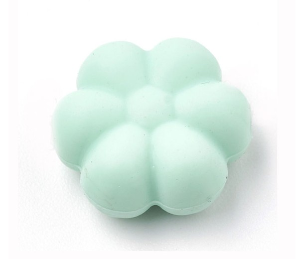 Light Teal Silicone Bead, 14mm Daisy Flower