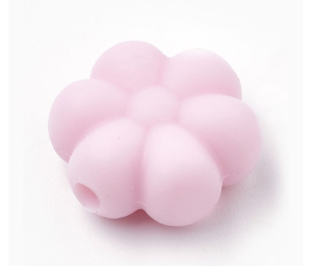 Pastel Pink Silicone Bead, 14mm Daisy Flower