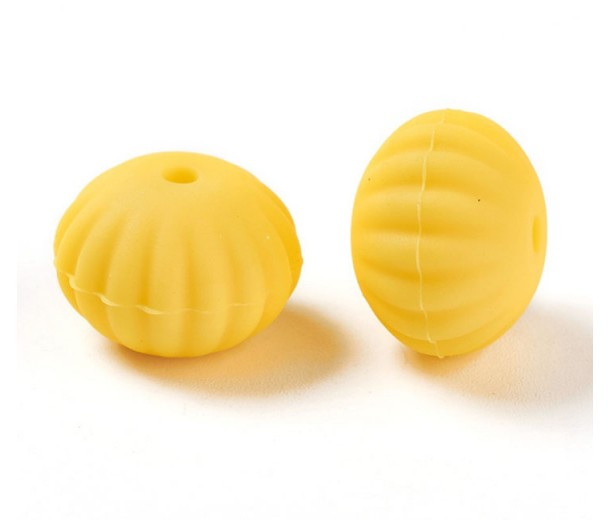 Sun Yellow Silicone Bead, 18mm Fluted Puffy Rondelle