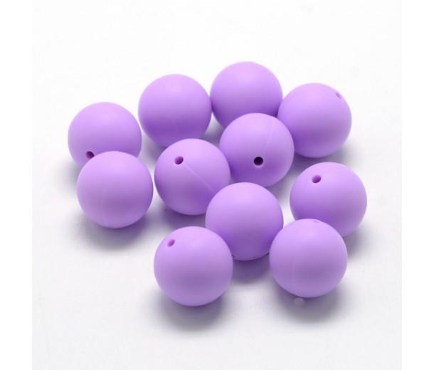 Light Orchid Purple Silicone Bead, 12mm Smooth Round