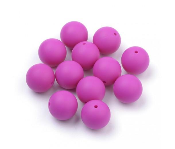 Magenta Silicone Bead, 14mm Smooth Round