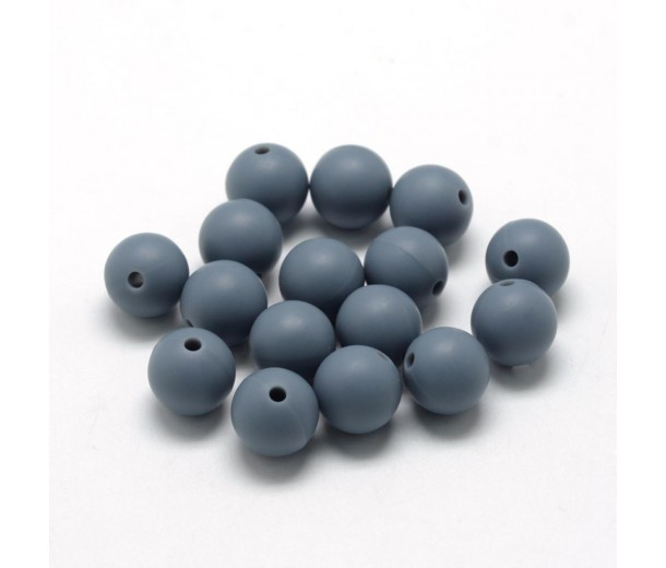 Dark Grey Silicone Bead, 10mm Smooth Round