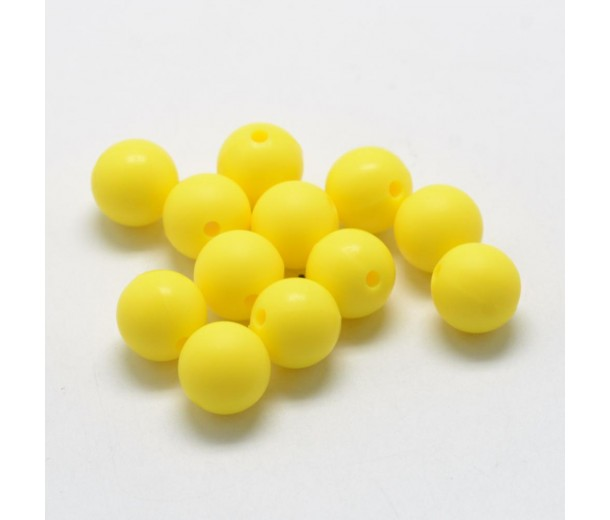 Sun Yellow Silicone Bead, 14mm Smooth Round