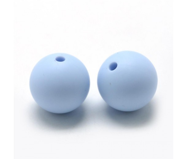 Powder Blue Silicone Bead, 12mm Smooth Round