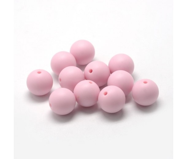 Pastel Pink Silicone Bead, 12mm Smooth Round