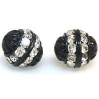 Crystal Black Finish Rhinestone Filigree Bead, 12mm Round
