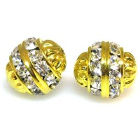 Crystal Gold Finish Rhinestone Filigree Bead, 12mm Round