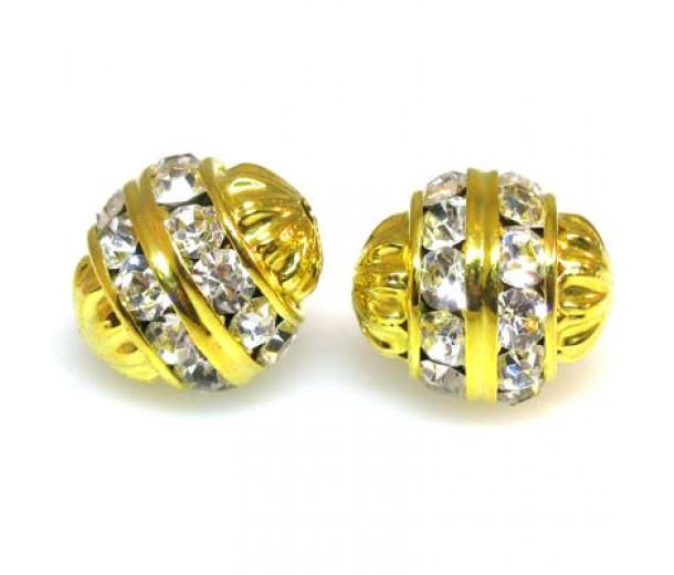 Crystal Gold Finish Rhinestone Filigree Bead, 12mm Round
