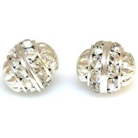 Crystal Silver Finish Rhinestone Filigree Bead, 12mm Round