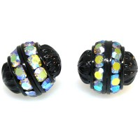 Crystal AB Black Finish Rhinestone Filigree Bead, 12mm Round