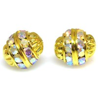 Crystal AB Gold Finish Rhinestone Filigree Bead, 12mm Round