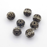 Crystal Antique Brass Rhinestone Filigree Beads, 10mm Round, Pack of 5