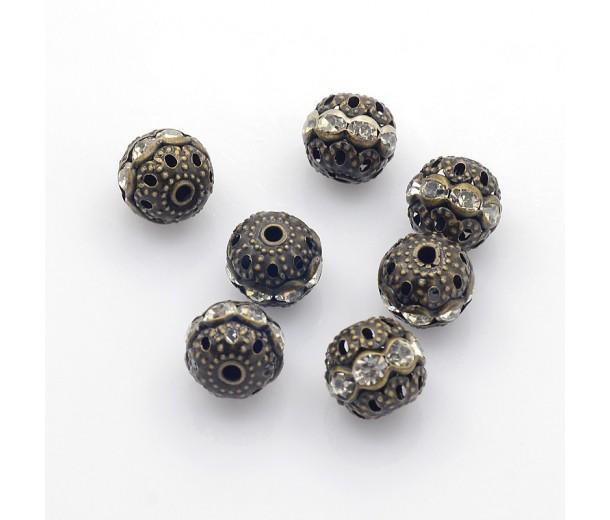 Crystal Antique Brass Rhinestone Filigree Beads, 10mm Round, Pack of 5