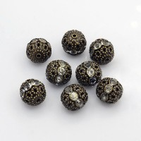 Crystal Antique Brass Rhinestone Filigree Beads, 12mm Round, Pack of 5