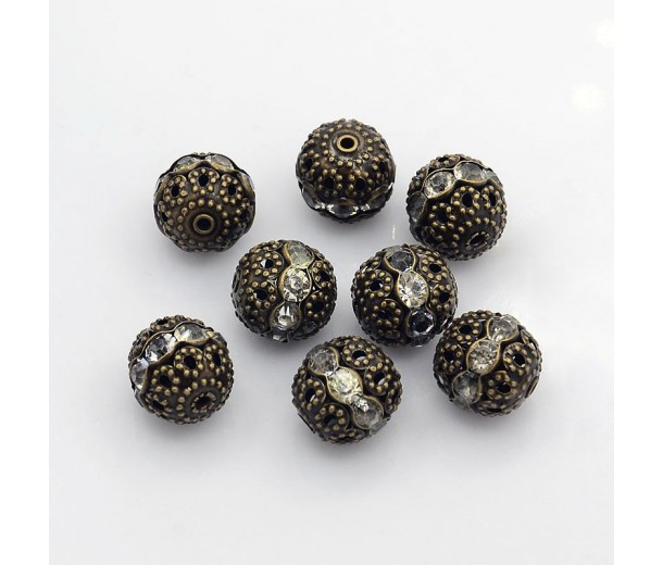 Crystal Antique Brass Rhinestone Filigree Beads, 12mm Round, Pack of 5