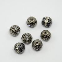 Crystal Gunmetal Rhinestone Filigree Beads, 12mm Round, Pack of 5