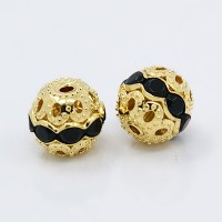 Jet Gold Tone Rhinestone Filigree Beads, 10mm Round, Pack of 5