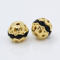 Jet Gold Tone Rhinestone Filigree Beads, 10mm Round, Pack of 5