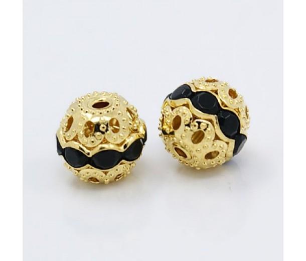 Jet Gold Tone Rhinestone Filigree Beads, 10mm Round