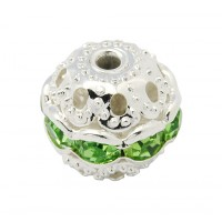 Light Green Silver Tone Rhinestone Filigree Beads, 10mm Round, Pack of 5