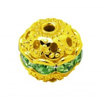 Peridot Gold Tone Rhinestone Filigree Beads, 10mm Round, Pack of 5