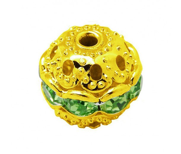 Peridot Gold Tone Rhinestone Filigree Beads, 12mm Round, Pack of 5