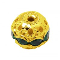 Emerald Gold Tone Rhinestone Filigree Beads, 10mm Round, Pack of 5