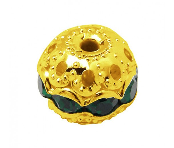 Emerald Gold Tone Rhinestone Filigree Beads, 12mm Round