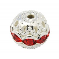 Siam Red Silver Tone Rhinestone Filigree Beads, 10mm Round, Pack of 5