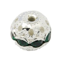Dark Green Silver Tone Rhinestone Filigree Beads, 10mm Round, Pack of 5