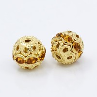 Topaz Gold Tone Rhinestone Filigree Beads, 10mm Round