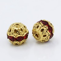 Siam Red Gold Tone Rhinestone Filigree Beads, 12mm Round