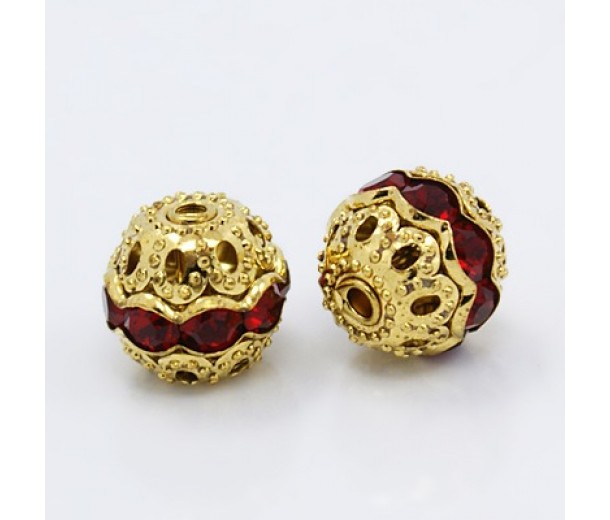 Siam Red Gold Tone Rhinestone Filigree Beads, 12mm Round, Pack of 5