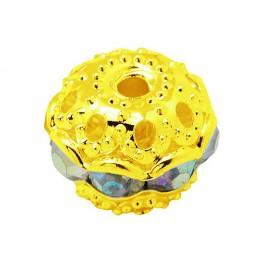 Crystal AB Gold Tone Rhinestone Filigree Beads, 10mm Round