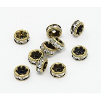 Crystal Antique Brass Rhinestone Rondelle Beads, Straight Edge, 8x4mm, Pack of 10
