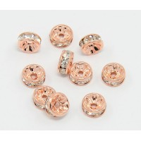 Crystal Rose Gold Tone Rhinestone Rondelle Beads, Straight Edge, 8x4mm, Pack of 10