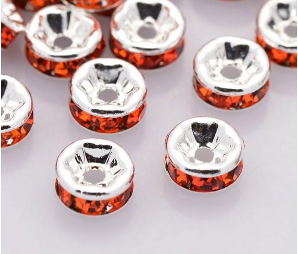 Hyacinth Silver Tone Rhinestone Rondelle Beads, Straight Edge, 8x4mm, Pack of 10