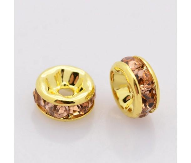 Light Peach Gold Tone Rhinestone Rondelle Beads, Straight Edge, 8x4mm, Pack of 10