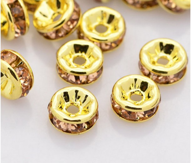 Light Peach Gold Tone Rhinestone Rondelle Beads, Straight Edge, 8x4mm, Pack of 10