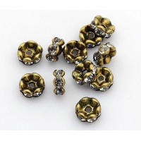 Crystal Antique Brass Rhinestone Rondelle Beads, Wavy Edge, 8x4mm, Pack of 10